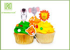 Flower Bakery Cake Decoration Toppers With Logo Printed Environmentally Friendly