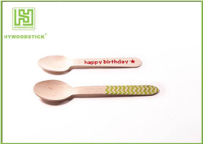 Eco Friendly Cutlery Cutlery Red Heart Printing 110mm Disposable Dessert Spoons Included