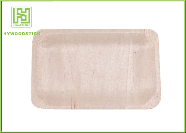 100% Natural Sustainable Disposable Wooden Plates Wood Dinner Dishes Well Polished